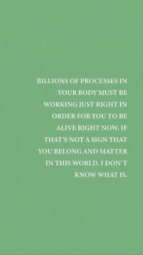 to-be-alive: BILLIONS OF PROCESSES IN  YOUR BODY MUST BE  WORKING JUST RIGHT IN  ORDER FOR YOU TO BE  ALIVE RIGHT NOW. IF  THAT'S NOT A SIGN THAT  YOU BELONG AND MATTER  IN THIS WORLD, I DON'T  KNOW WHAT IS.