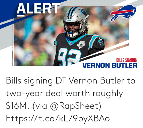 Roughly: Bills signing DT Vernon Butler to two-year deal worth roughly $16M. (via @RapSheet) https://t.co/kL79pyXBAo