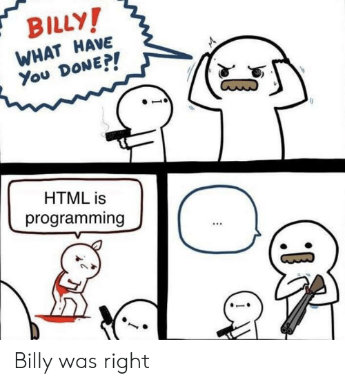 Programming, Html, and You: BILLY  WHAT HAVE  You DoNE  HTML is  programming Billy was right
