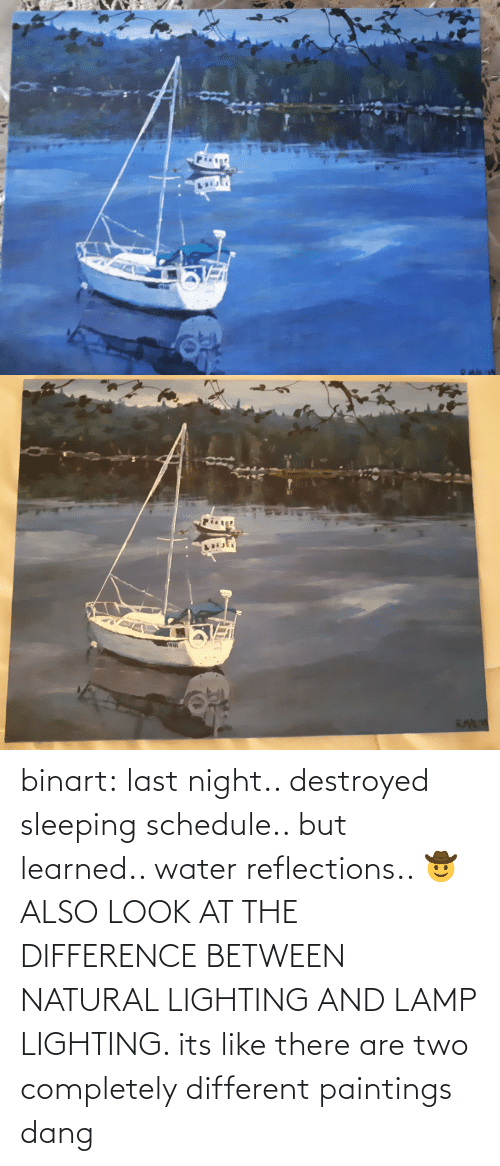 last night: binart:  last night.. destroyed sleeping schedule.. but learned.. water reflections.. 🤠ALSO LOOK AT THE DIFFERENCE BETWEEN NATURAL LIGHTING AND LAMP LIGHTING. its like there are two completely different paintings dang