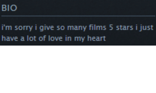 5 Stars: BIO  i'm sorry i give so many films 5 stars i just  have a lot of love in my heart