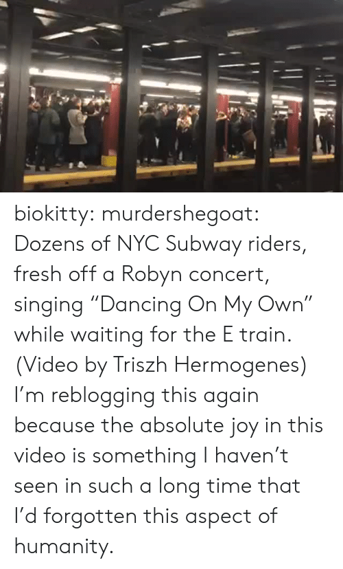 """This Again: biokitty: murdershegoat: Dozens of NYC Subway riders, fresh off a Robyn concert, singing """"Dancing On My Own"""" while waiting for the E train. (Video by Triszh Hermogenes) I'm reblogging this again because the absolute joy in this video is something I haven't seen in such a long time that I'd forgotten this aspect of humanity."""
