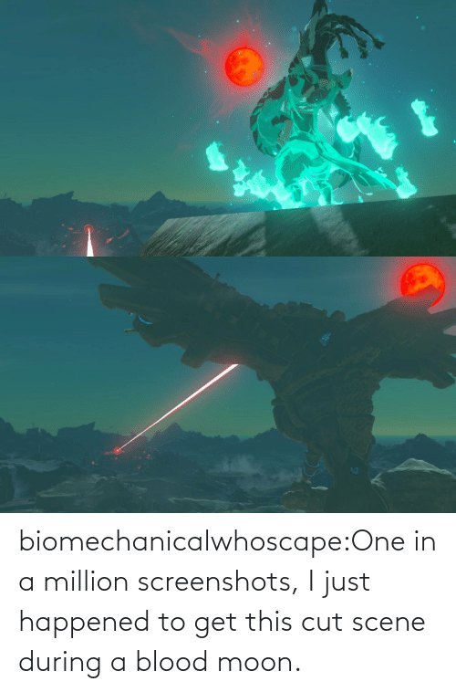 scene: biomechanicalwhoscape:One in a million screenshots, I just happened to get this cut scene during a blood moon.