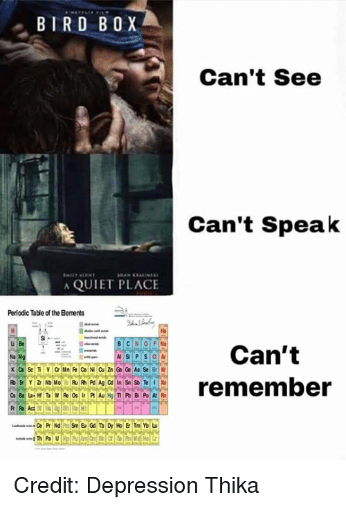 Memes, Depression, and Quiet: BIRD BOX  Can't See  Can't Speak  A QUIET PLACE  Periodic Table of the Bements  He  u Be  Can't  ECREremember Credit: Depression Thika