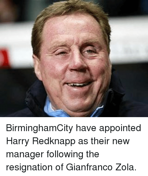 Zola: BirminghamCity have appointed Harry Redknapp as their new manager following the resignation of Gianfranco Zola.