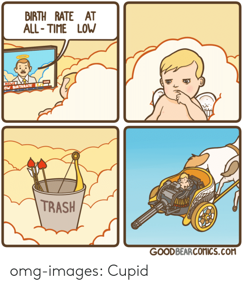 all time low: BIRTH RATE AT  ALL- TIME LOW  Live  NE  OW BIRTHRATEKU  TRASH  GOODBEARCOMICS.COM omg-images:  Cupid