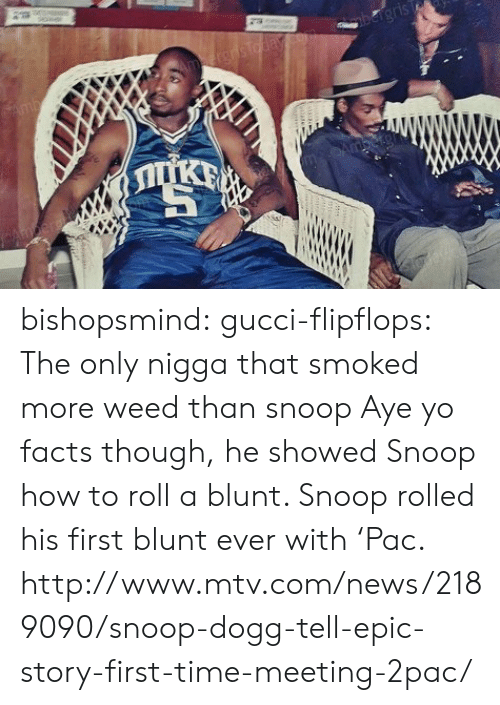 Facts, Gucci, and How to Roll a Blunt: bishopsmind:  gucci-flipflops:  The only nigga that smoked more weed than snoop  Aye yo facts though, he showed Snoop how to roll a blunt. Snoop rolled his first blunt ever with 'Pac. http://www.mtv.com/news/2189090/snoop-dogg-tell-epic-story-first-time-meeting-2pac/