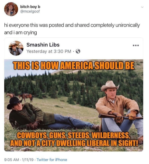Bitch, Dallas Cowboys, and Crying: bitch boy b  @mcelgoof  hi everyone this was posted and shared completely unironically  and i am crying  Smashin Libs  Yesterday at 3:30 PM  THISIS HOW AMERICASHOULD BE  COWBOYS,GUNS,STEEDS, WILDERNESS  AND NOT ACITY DWELLING LIBERAL IN SIGHT!  afin cem  9:05 AM 1/11/19 Twitter for iPhone