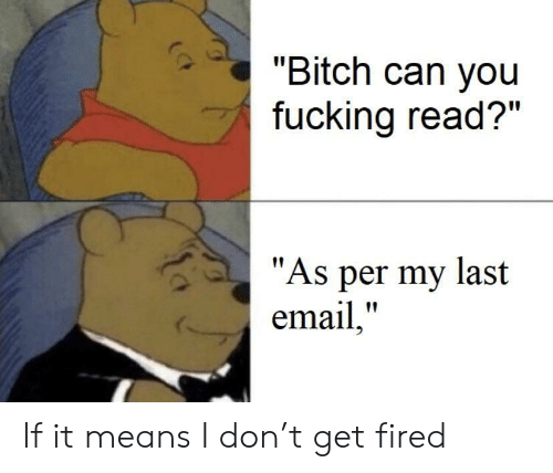 "Bitch, Fucking, and Email: ""Bitch can you  fucking read?""  ""As per my last  email,"" If it means I don't get fired"