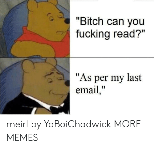 """as per: """"Bitch can you  fucking read?""""  """"As per my last  email,"""" meirl by YaBoiChadwick MORE MEMES"""