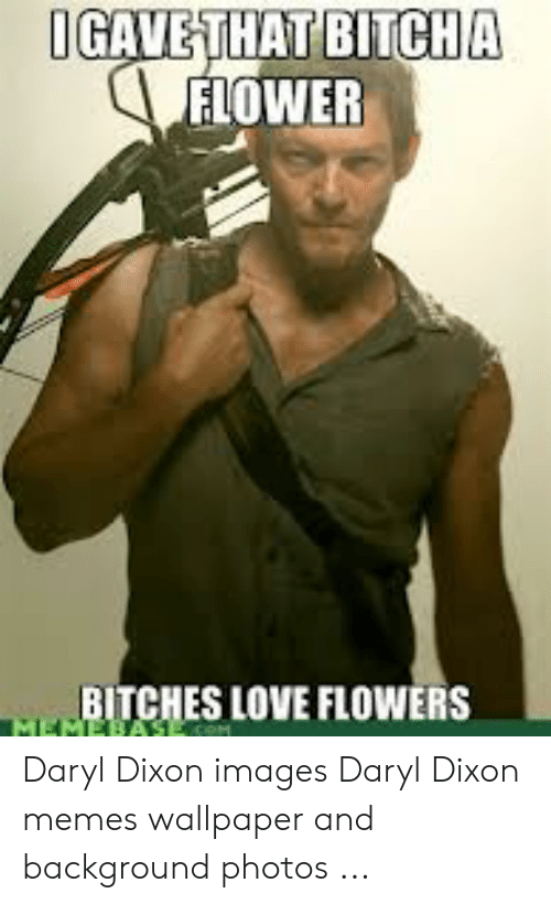 Love, Memes, and Flower: BITCHA  IGAVETHAT  FLOWER  BITCHES LOVE FLOWERS Daryl Dixon images Daryl Dixon memes wallpaper and background photos ...