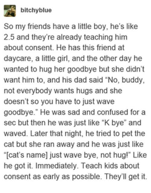 "Cats, Confused, and Dad: bitchyblue  So my friends have a little boy, he's like  2.5 and they're already teaching him  about consent. He has this friend at  daycare, a little girl, and the other day he  wanted to hug her goodbye but she didn't  want him to, and his dad said ""No, buddy,  not everybody wants hugs and she  doesn't so you have to just wave  goodbye."" He was sad and confused for a  sec but then he was just like ""K bye"" and  waved. Later that night, he tried to pet the  cat but she ran away and he was just like  ""[cat's name] just wave bye, not hug!"" Like  he got it. Immediately. Teach kids about  consent as early as possible. They'll get it"
