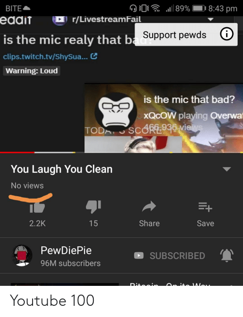 Overwa: BITE  eddit  89%  8:43 pm  r/LivestreamFail  is the mic realy that ba Support pewds  clips.twitch.tv/ShySua...  Warning: Loud  is the mic that bad?  XQCOW playing Overwa  TODA SCORE930 vies  You Laugh You Clean  No views  E+  Share  2.2K  Save  15  PewDiePie  SUBSCRIBED  96M subscribers  Dita : Youtube 100