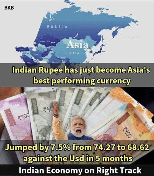 Kazakhstan: BKB  RUS SI A  KAZAKHSTAN  As  CHINA  Indian Rupee has just become Asia's  best performing currency  Jumped by:7.5%from 74.27 to 68.62  against the Usd in 5 months  Indian Economy on Right Track