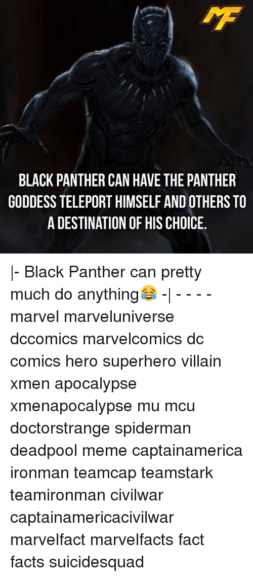teleporter: BLACK PANTHER CAN HAVE THE PANTHER  GODDESS TELEPORT HIMSELF AND OTHERS TO  A DESTINATION OF HIS CHOICE. |- Black Panther can pretty much do anything😂 -| - - - - marvel marveluniverse dccomics marvelcomics dc comics hero superhero villain xmen apocalypse xmenapocalypse mu mcu doctorstrange spiderman deadpool meme captainamerica ironman teamcap teamstark teamironman civilwar captainamericacivilwar marvelfact marvelfacts fact facts suicidesquad