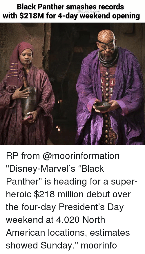 """Disney, Memes, and American: Black Panther smashes records  with $218M for 4-day weekend opening  @n.し001 RP from @moorinformation """"Disney-Marvel's """"Black Panther"""" is heading for a super-heroic $218 million debut over the four-day President's Day weekend at 4,020 North American locations, estimates showed Sunday."""" moorinfo"""