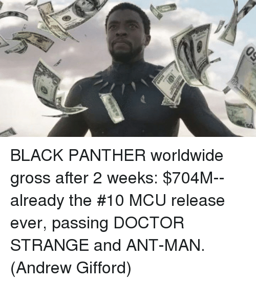 Doctor, Memes, and Black: BLACK PANTHER worldwide gross after 2 weeks: $704M--already the #10 MCU release ever, passing DOCTOR STRANGE and ANT-MAN.  (Andrew Gifford)