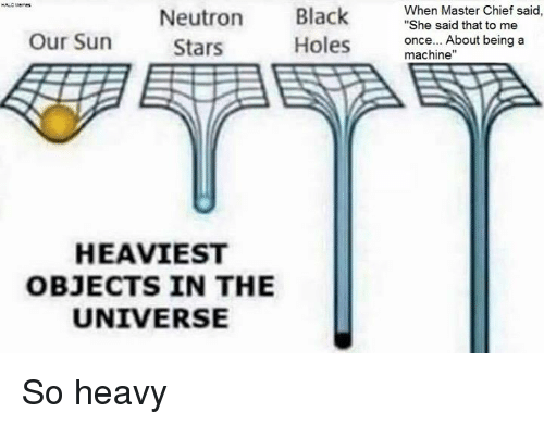 "Machining: Black  When Master Chief said  ""She said that to me  Neutron  Our Sun  once... About being a  Holes  Stars  machine""  HEAVIEST  OBJECTS IN THE  UNIVERSE So heavy"