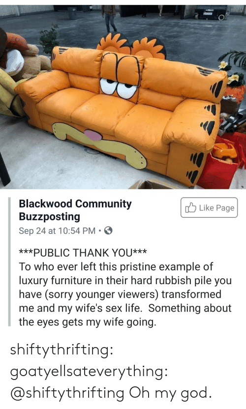 Example Of: Blackwood Community  Buzzposting  Like Page  Sep 24 at 10:54 PM  ***PUBLIC THANK YOU***  To who ever left this pristine example of  luxury furniture in their hard rubbish pile you  have (sorry younger viewers) transformed  me and my wife's sex life. Something about  the eyes gets my wife going. shiftythrifting: goatyellsateverything: @shiftythrifting  Oh my god.