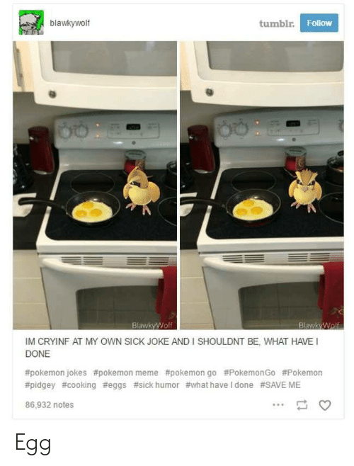 Meme, Pokemon, and Tumblr: blawkywolf  tumblr  Follow  BlawkyWolf  IM CRYINF AT MY OWN SICK JOKE AND I SHOULDNT BE, WHAT HAVE  DONE  #pokemon jokes #pokemon meme #pokemon go #PokemonGo #Pokemon  #pidgey #cooking #eggs #sick humor #what have I done #SAVE ME  86,932 notes Egg