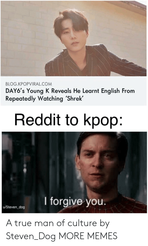I Forgive You: BLOG.KPOPVIRAL.COM  DAY6's Young K Reveals He Learnt English From  Repeatedly Watching 'Shrek  Reddit to kpop:  I forgive you.  u/Steven_dog A true man of culture by Steven_Dog MORE MEMES