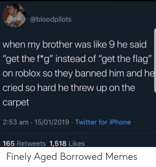 "roblox: @bloodpilots  when my brother was like 9 he said  ""get the f*g"" instead of ""get the flag""  on roblox so they banned him and he  cried so hard he threw up on the  carpet  2:53 am 15/01/2019 Twitter for iPhone  165 Retweets 1,518 Likes Finely Aged Borrowed Memes"