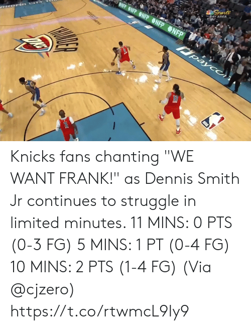 "New York Knicks, Memes, and Nba: BLUE SEATS  KIA  MIS BUDY'S FOR YOU.  TH  FOR  BONUS  BONUS  29.6  81  76  3RD 24  AMSG  BOS  NYK  LIVE  s, 2 reb, 4 ast, 1 blk L Smith: 10 pts, 2 reb, 3 astTV  NBA SCORES  WIZARDS Knicks fans chanting ""WE WANT FRANK!"" as Dennis Smith Jr continues to struggle in limited minutes.   11 MINS: 0 PTS (0-3 FG) 5 MINS: 1 PT (0-4 FG) 10 MINS: 2 PTS (1-4 FG)  (Via @cjzero)  https://t.co/rtwmcL9Iy9"