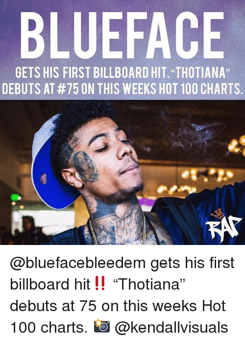 """Billboard: BLUEFACE  GETS HIS FIRST BILLBOARD HIT. """"THOTIANA""""  DEBUTS AT #75 ON THIS WEEKS HOT 100 CHARTS. @bluefacebleedem gets his first billboard hit‼️ """"Thotiana"""" debuts at 75 on this weeks Hot 100 charts. 📸 @kendallvisuals"""