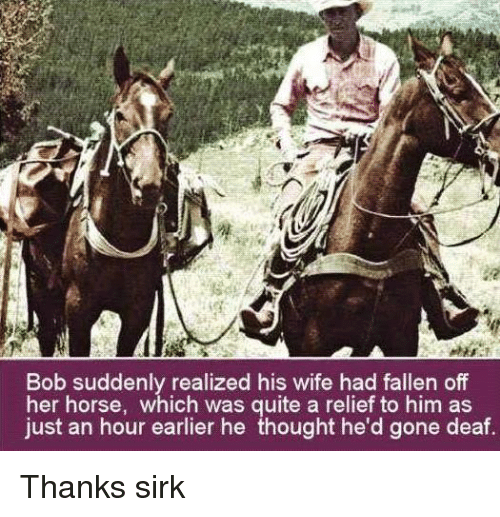 sudden realization: Bob suddenly realized his wife had fallen off  her horse, which was quite a relief to him as  just an hour earlier he thought he'd gone deaf. Thanks sirk