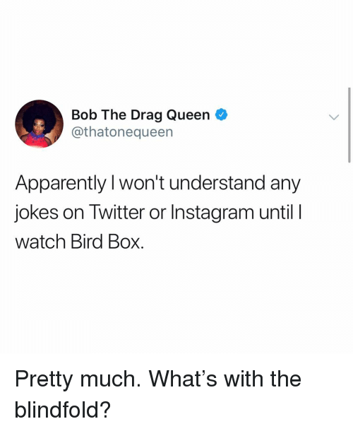 Apparently, Instagram, and Twitter: Bob The Drag Queen O  @thatonequeen  Apparently I won't understand any  jokes on Twitter or Instagram untilI  watch Bird Box. Pretty much. What's with the blindfold?