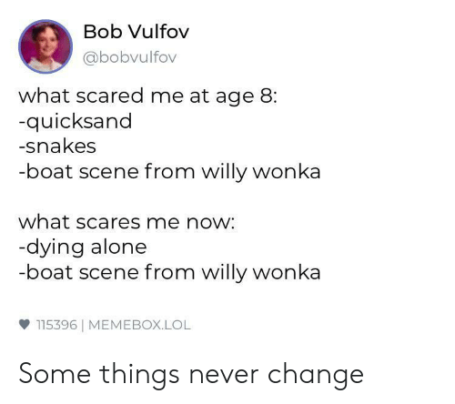 willy: Bob Vulfov  abobvulfov  what scared me at age 8:  quicksand  -snakes  -boat scene from willy wonka  what scares me now:  dying alone  -boat scene from willy wonka  ф 115396 | MEMEBOX.LOL Some things never change
