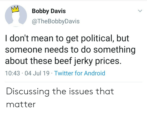 Do Something About: Bobby Davis  @TheBobbyDavis  I don't mean to get political, but  someone needs to do something  about these beef jerky prices.  10:43 04 Jul 19 Twitter for Android Discussing the issues that matter