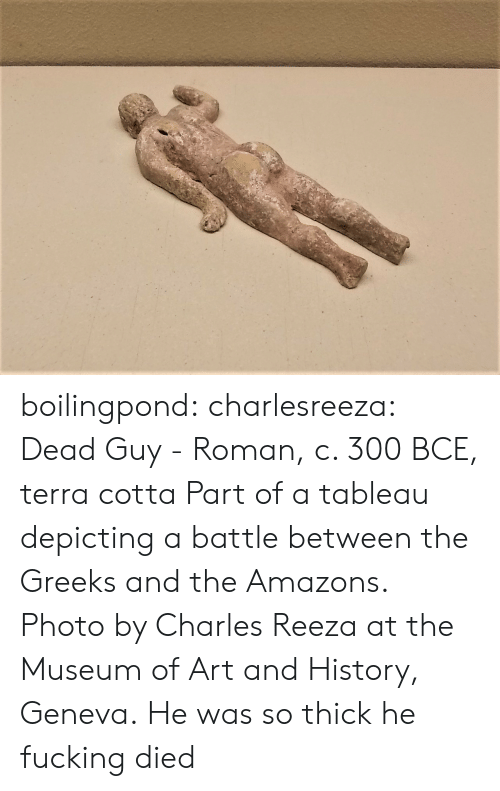 Roman: boilingpond: charlesreeza:   Dead Guy - Roman, c. 300 BCE, terra cotta Part of a tableau depicting a battle between the Greeks and the Amazons. Photo by Charles Reeza at the Museum of Art and History, Geneva.   He was so thick he fucking died