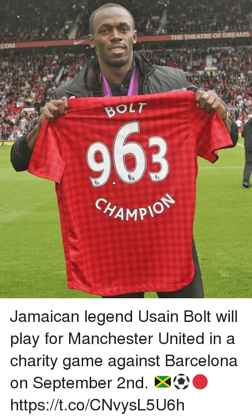 Barcelona, Memes, and Usain Bolt: BOLT  CHAMP  MPION Jamaican legend Usain Bolt will play for Manchester United in a charity game against Barcelona on September 2nd. 🇯🇲⚽️🔴 https://t.co/CNvysL5U6h