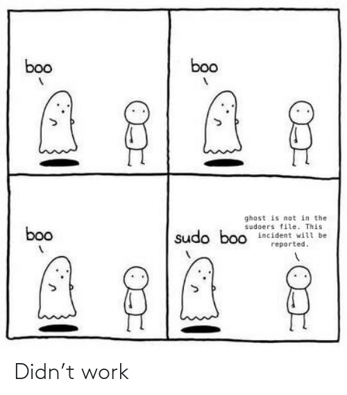 Boo, Work, and Ghost: boo  boo  ghost is not in the  sudoers file. This  incident will be  boo  sudo boo  reported. Didn't work