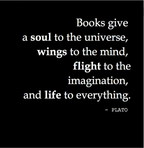 Wings: Books give  a soul to the universe,  wings to the mind,  flight to the  imagination,  and life to everything.  -PLATO