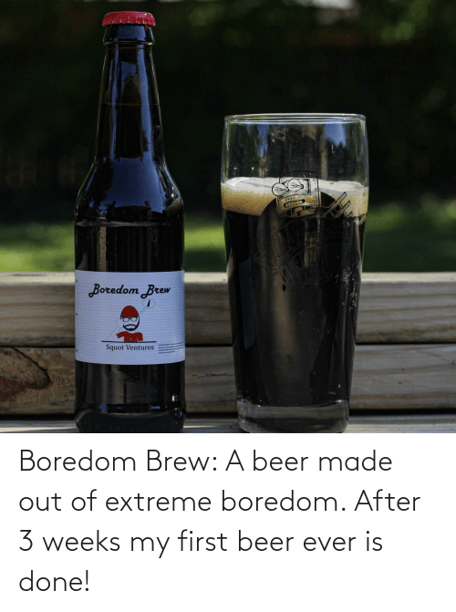 extreme: Boredom Brew: A beer made out of extreme boredom. After 3 weeks my first beer ever is done!