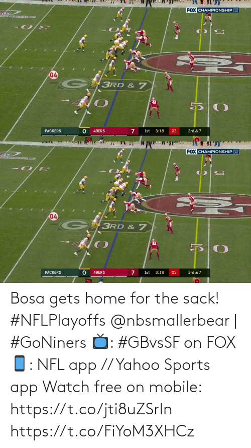 Home: Bosa gets home for the sack! #NFLPlayoffs  @nbsmallerbear | #GoNiners  📺: #GBvsSF on FOX 📱: NFL app // Yahoo Sports app Watch free on mobile: https://t.co/jti8uZSrIn https://t.co/FiYoM3XHCz