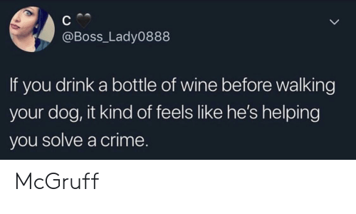 Crime, Wine, and Dog: @Boss_Lady0888  If you drink a bottle of wine before walking  your dog, it kind of feels like he's helping  you solve a crime. McGruff