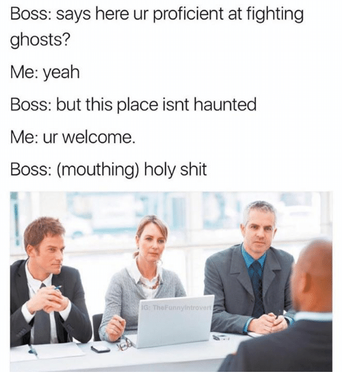 Proficious: Boss: says here ur proficient at fighting  ghosts?  Me: yeah  Boss: but this place isnt haunted  Me: ur welcome.  Boss: (mouthing) holy shit  IG: The Punnyintrovart