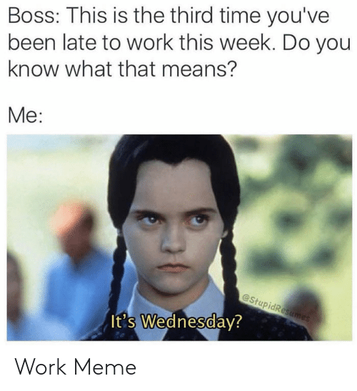 Meme, Reddit, and Work: Boss: This is the third time you've  been late to work this week. Do you  know what that means?  Me:  @StupidResumes  It's Wednesday? Work Meme