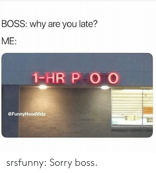 Sorry, Tumblr, and Blog: BOSS: why are you late?  ME:  1-HR P O O  @FunnyHoodVidz srsfunny:  Sorry boss.