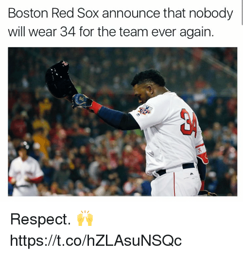 Respect, Boston Red Sox, and Boston: Boston Red Sox announce that nobody  will wear 34 for the team ever again. Respect. 🙌 https://t.co/hZLAsuNSQc
