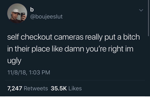 Bitch, Ugly, and Really: @boujeeslut  self checkout cameras really put a bitch  in their place like damn you're right im  ugly  11/8/18, 1:03 PM  7,247 Retweets 35.5K Likes