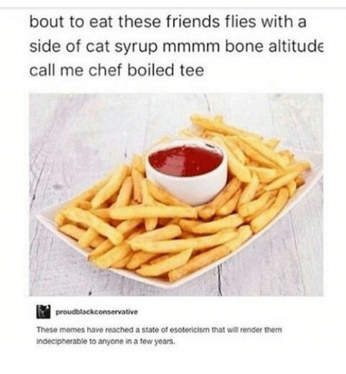 Friends, Memes, and Chef: bout to eat these friends flies with a  side of cat syrup mmmm bone altitude  call me chef boiled tee  proudblackconservative  These memes have reached a state of esotericism that will render them  indecipherable to anyone in a tew years
