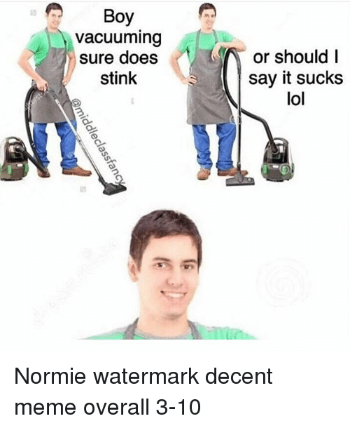 It Sucked: Boy  vacuuming  sure does  stink  or should I  say it sucks  lol Normie watermark decent meme overall 3-10
