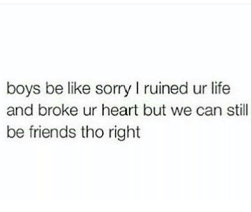 we can still be friends: boys be like sorry l ruined ur life  and broke ur heart but we can still  be friends tho right