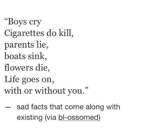 "Boats: ""Boys cry  Cigarettes do kill  parents lie,  boats sink,  flowers die,  Life goes on,  with or without you.""  sad facts that come along with  existing (via bl-ossomed)"