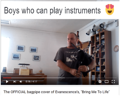 """Evanescence, Life, and Covers: Boys who can play instruments  0187 4:17  The OFFICIAL bagpipe cover of Evanescence's, """"Bring Me To Life"""""""