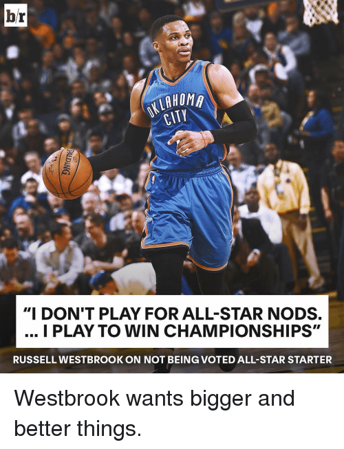 "Russel Westbrook: br  HOMA  CITY  ""I DON'T PLAY FOR ALL-STAR NODS.  I PLAY TO WIN CHAMPIONSHIPS""  RUSSELL WESTBROOK ON NOT BEIN (GVOTED ALL-STAR STARTER Westbrook wants bigger and better things."